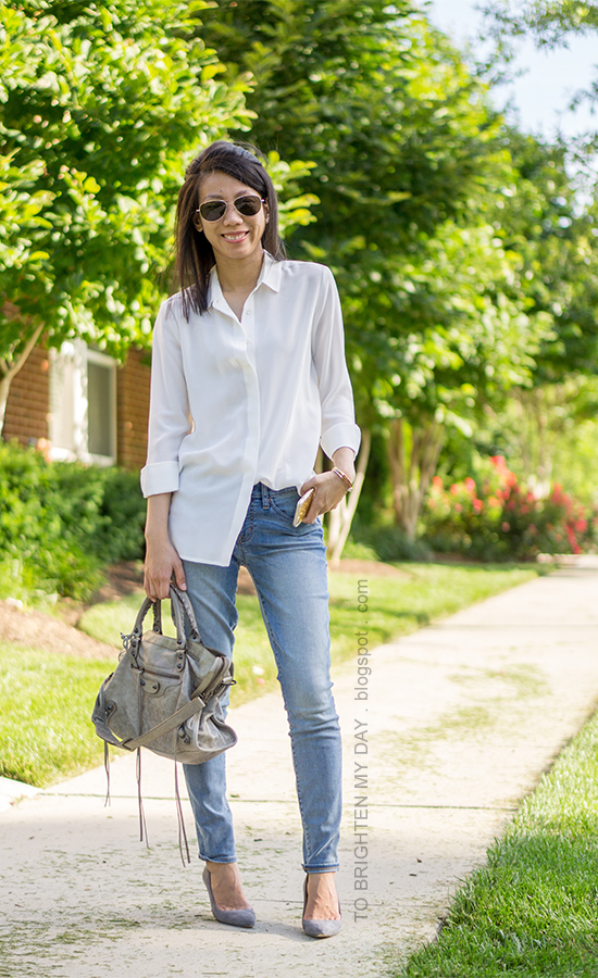 white boyfriend silk button up shirt, lightwash skinny jeans, gray bag, gray suede pumps