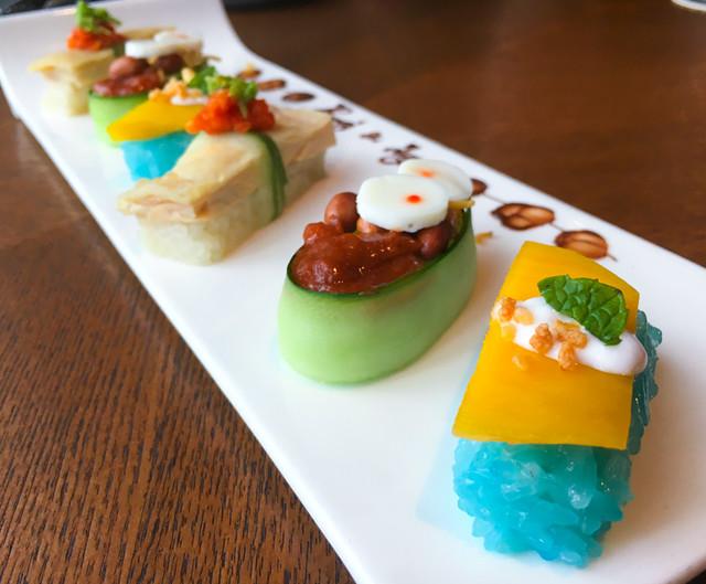 ruyi-and-lyn-sushi-nasi-lemak-chicken-rice-mango-sticky-rice