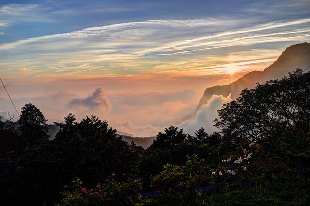 阿里山日落雲海