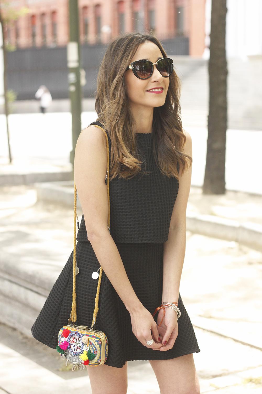 Little black dress maje carolina herrera sandals bag outfit fashion style summer sunnies19