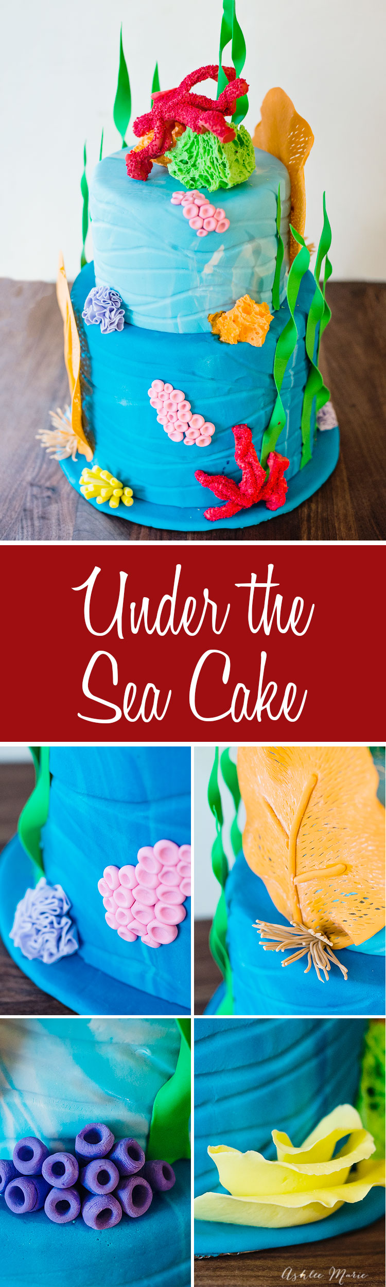 a video tutorial to make your own colorful coral for a sweet under the sea cake