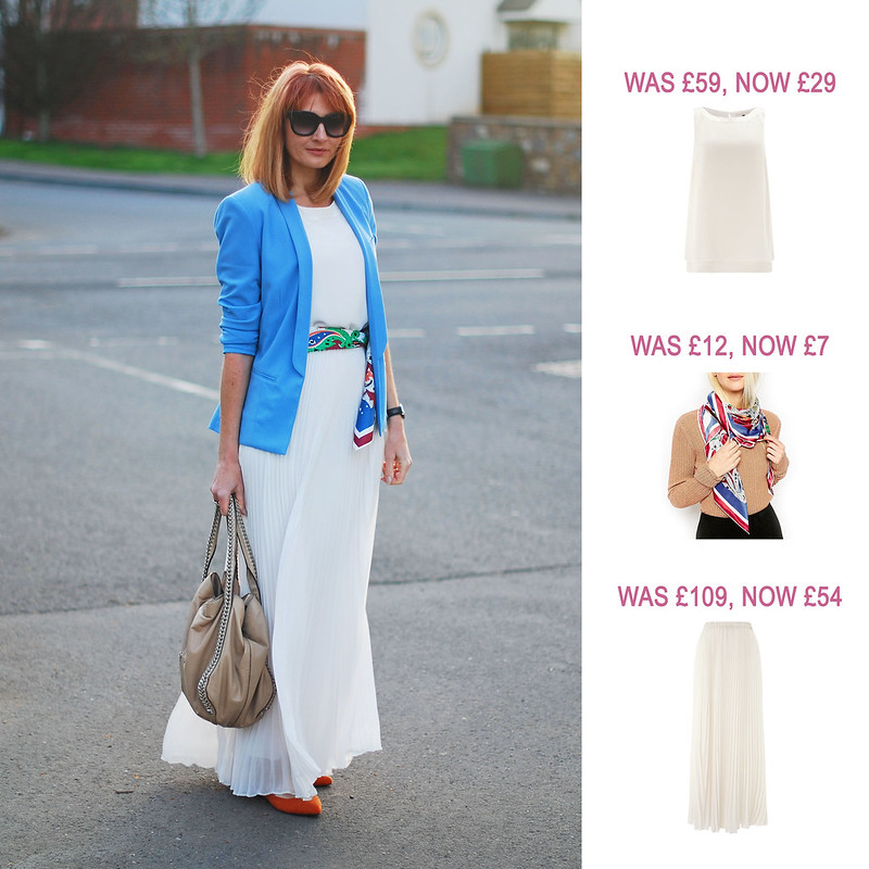 Summer Sales Picks SS16 - Jacques Vert white chiffon top, pleated maxi skirt, ASOS paisley scarf | Not Dressed As Lamb