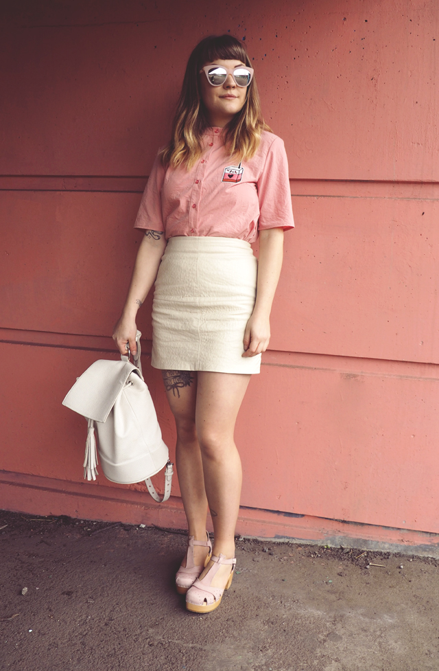 pink cream summer outfit being little