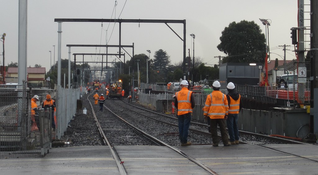 Level crossing removal works, Ormond 25/6/2016
