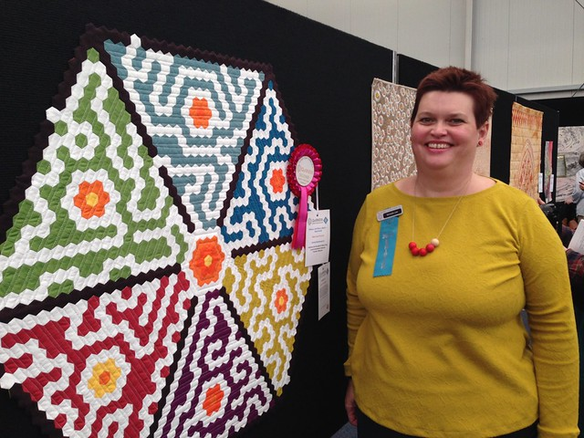 With my quilt, just after pinning it.