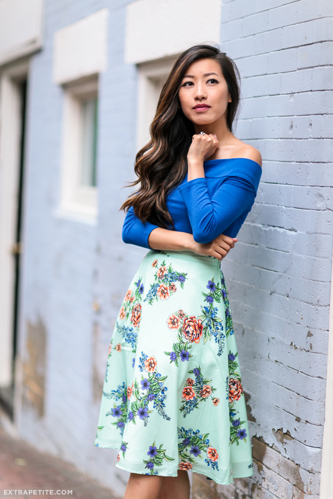 modcloth floral A line skirt summer outfit_extra petite