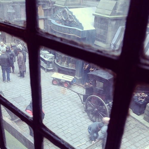 Filming Frankenstein at work, on the lookout for Daniel Radcliffe & James Mcavoy