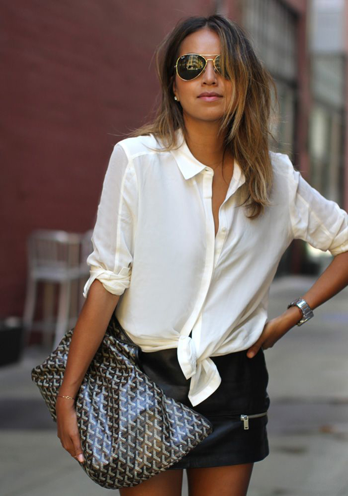 knotted shirt inspiration street style fashion outfit11