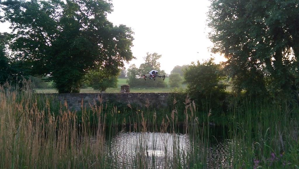 Drohne überm Teich im Park