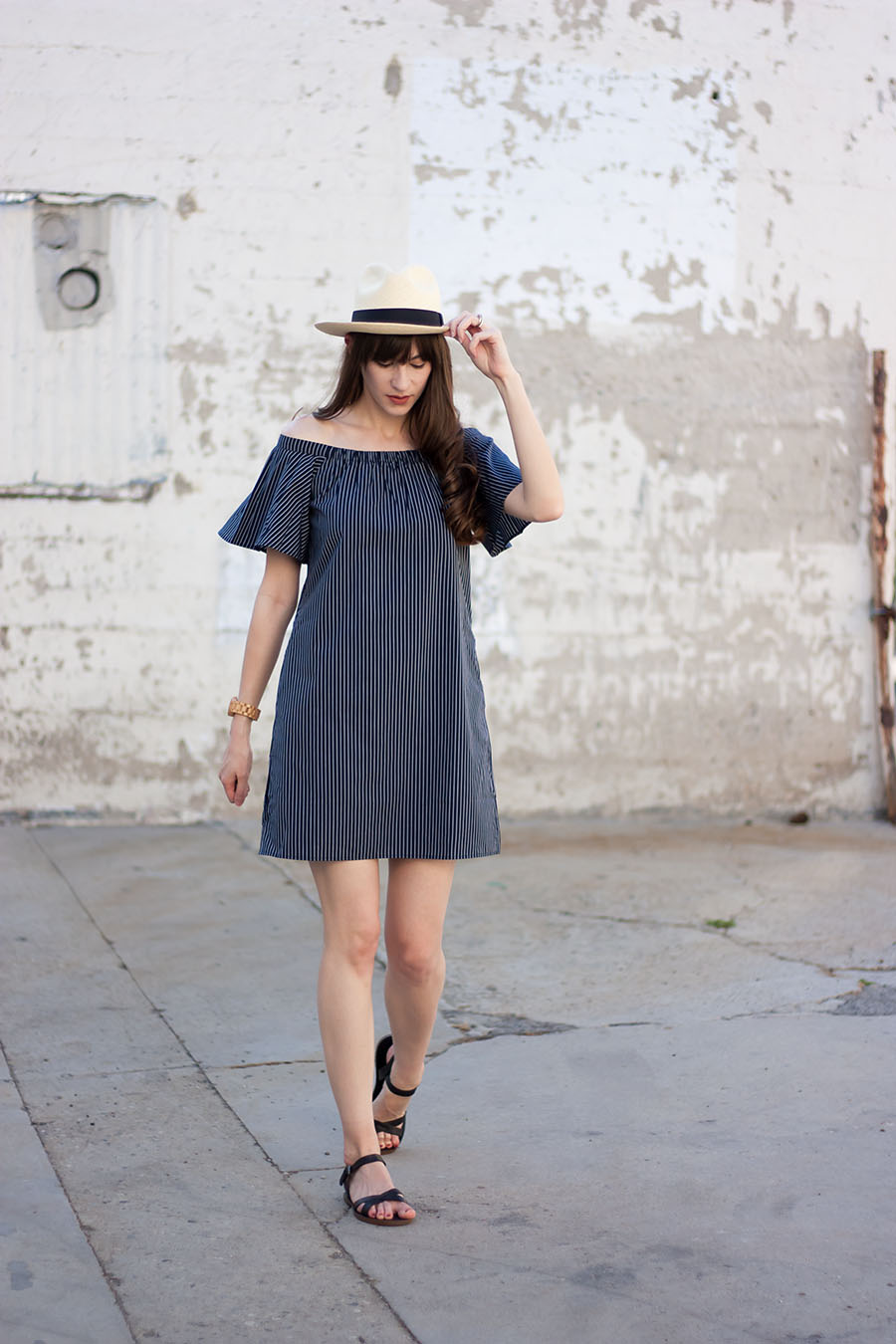 J.Crew Panama Hat, Striped Off The Shoulder Dress, Madewell Sandals