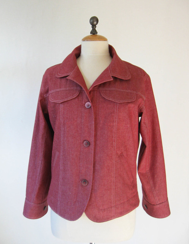 Red denim jacket front