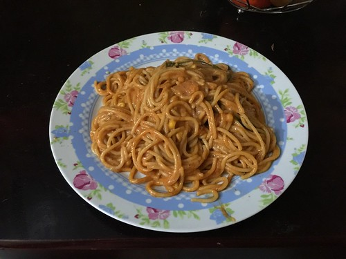 Dominican Spaghetti with pork