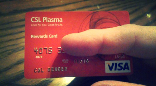 S&Mj adventure's CSL Plasma card