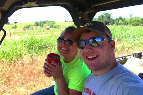 Taking a quick ride on Farmer Mike's ranger.