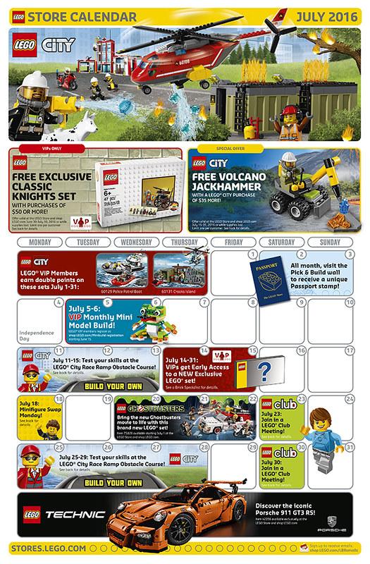 LEGO Shop July 2016 Calendar