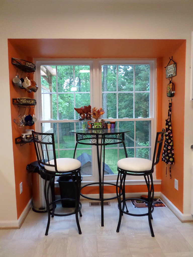 Halloween decor in breakfast nook in kitchen