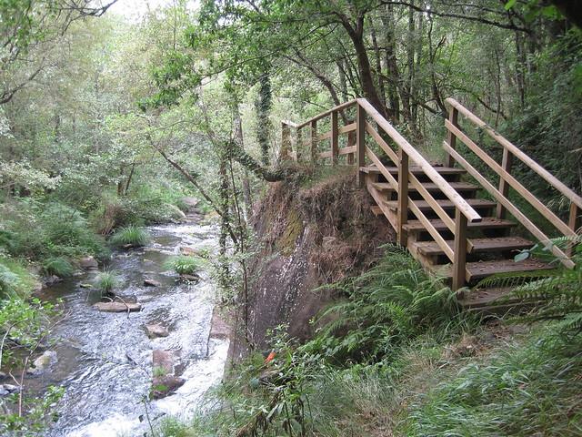 Escaleras de la senda botánica del río Mera