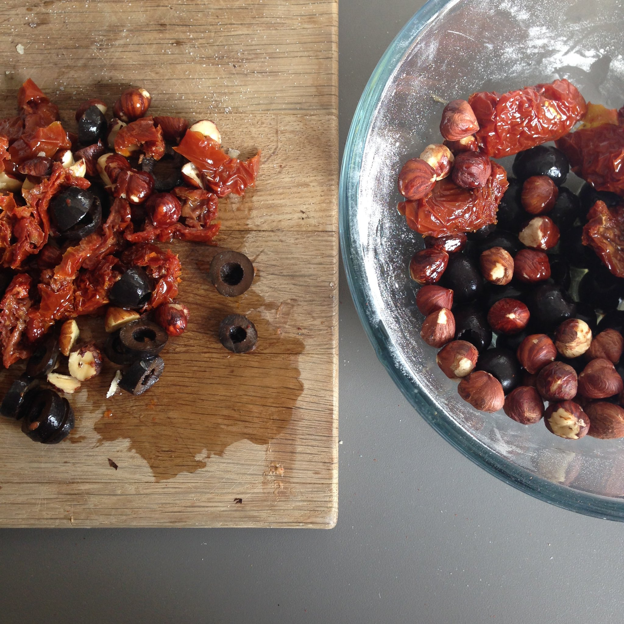sundried tomatoes and olives and hazelnuts