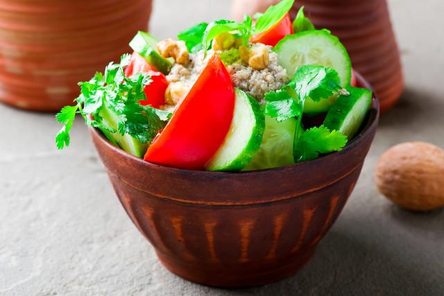 vegetable walnut sauce salad. Georgian cuisine.