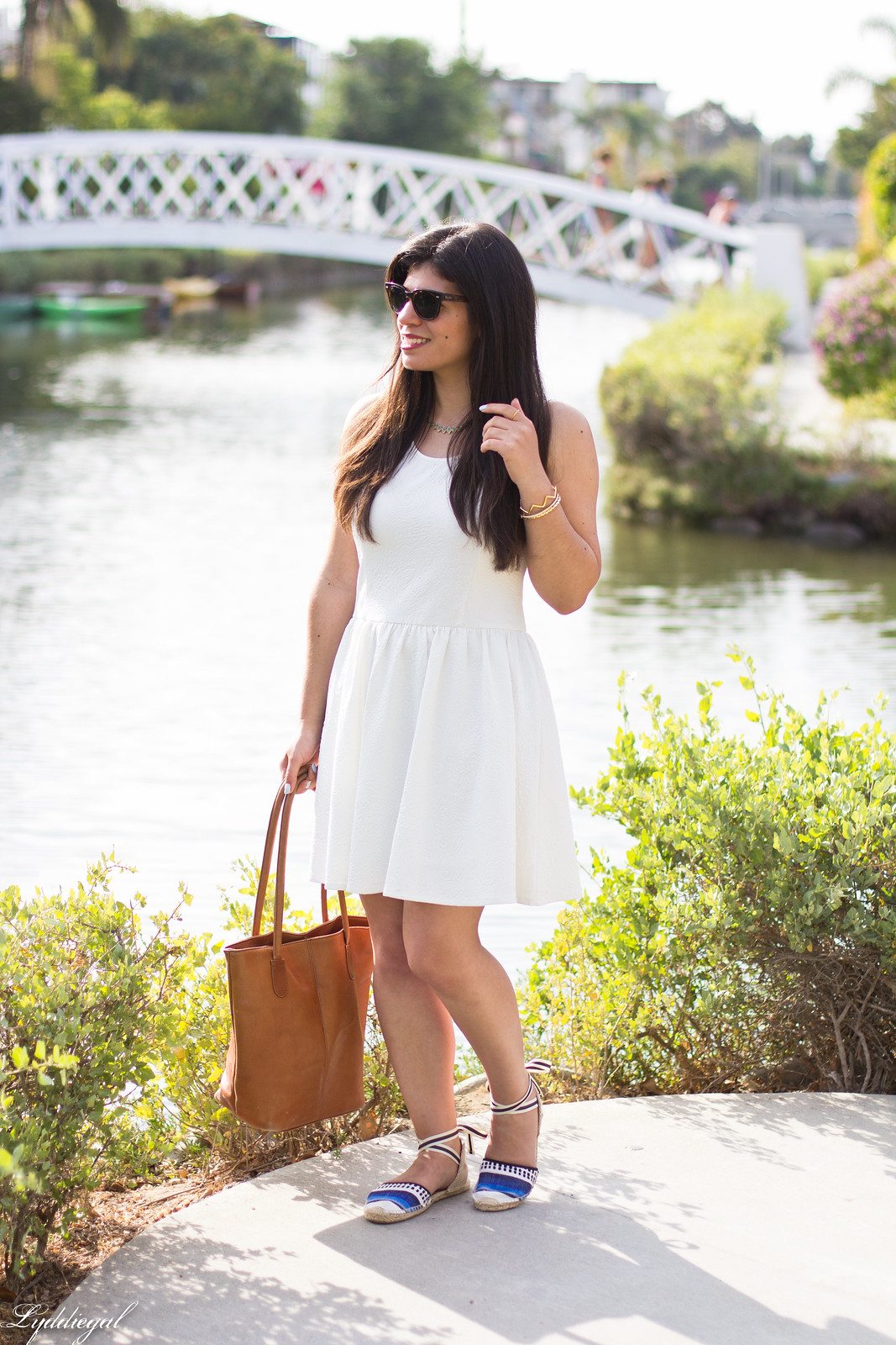 little white dress, espidrilles, leather tote.jpg
