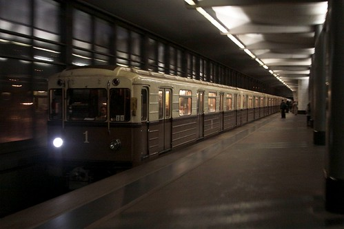 Replica of the original 1934-vintage Moscow Metro train in service