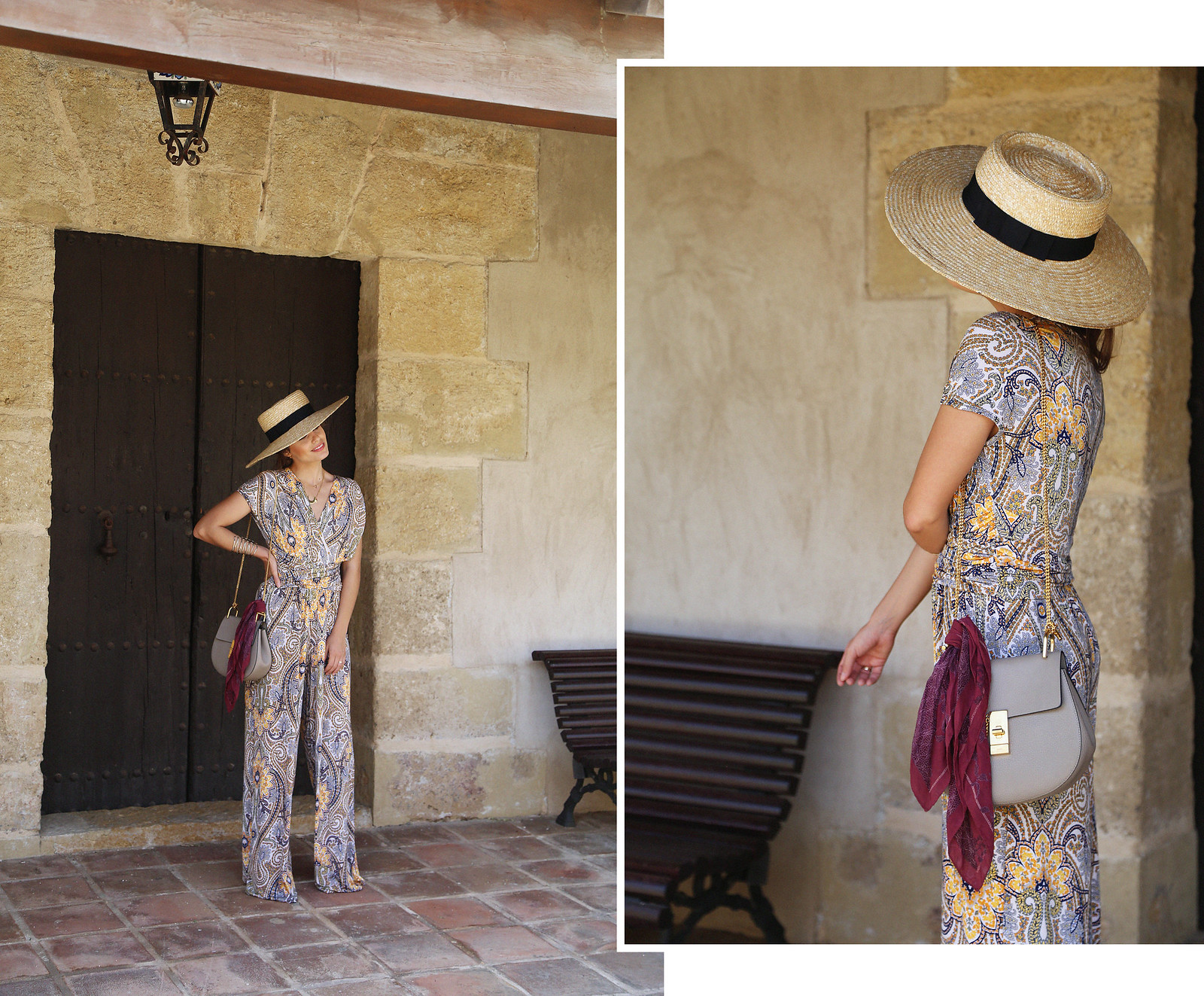 jessie chanes seams for a desire paisley jumpsuit summer hat chloe bag-1