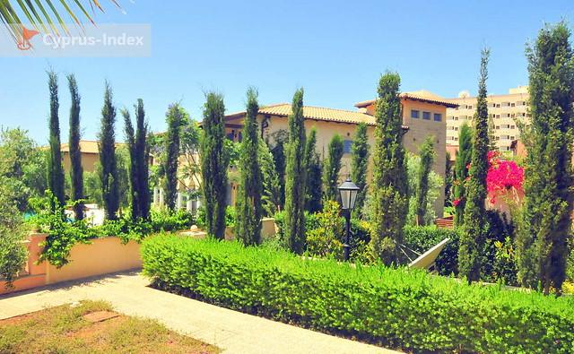 Ухоженная растительность на территории The Residence, Лимассол, Кипр