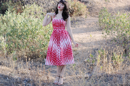 Unique Vintage 1950s Style Red & Cream Darcy Printed Swing Dress