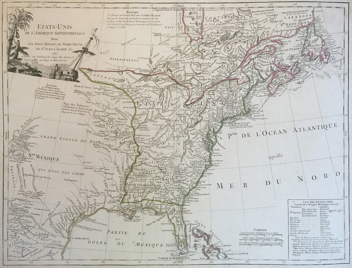 Map: 1785 Wilkinson's map, United States (Etats-Unis)