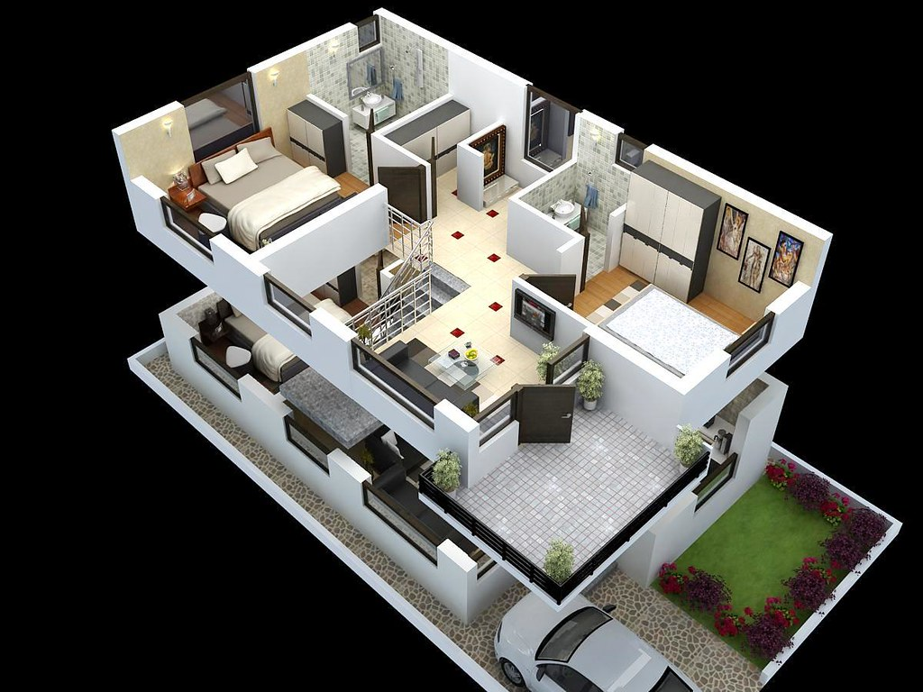 Duplex House Plans Interior Cut Model of Duplex House Plan