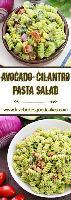 Avocado-Cilantro Pasta Salad collage.