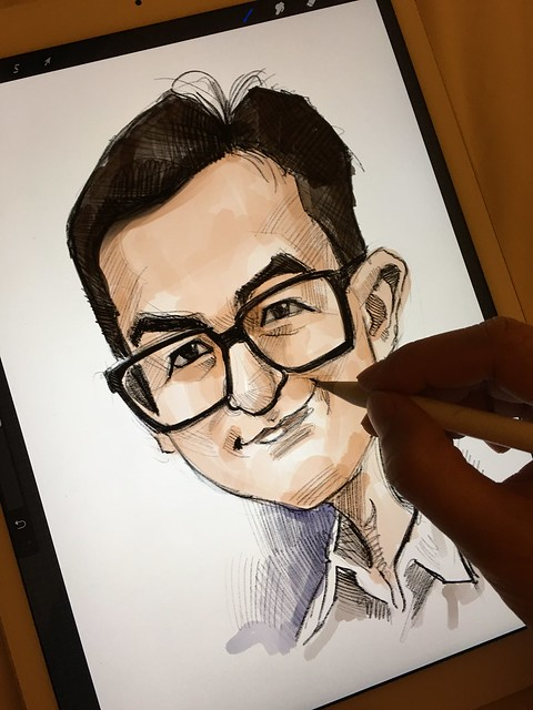 Digital caricature sketch of 馬榮成 on iPad Pro + Apple Pencil in Procreate