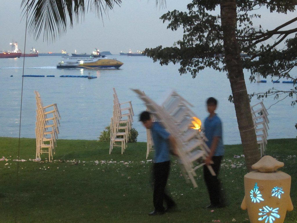 Cleaning up after the wedding, Sentosa, Singapore