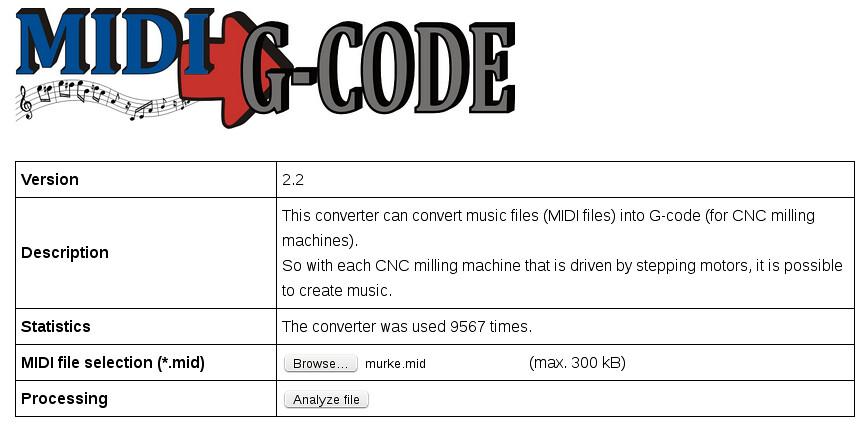 MIDI2Gcode