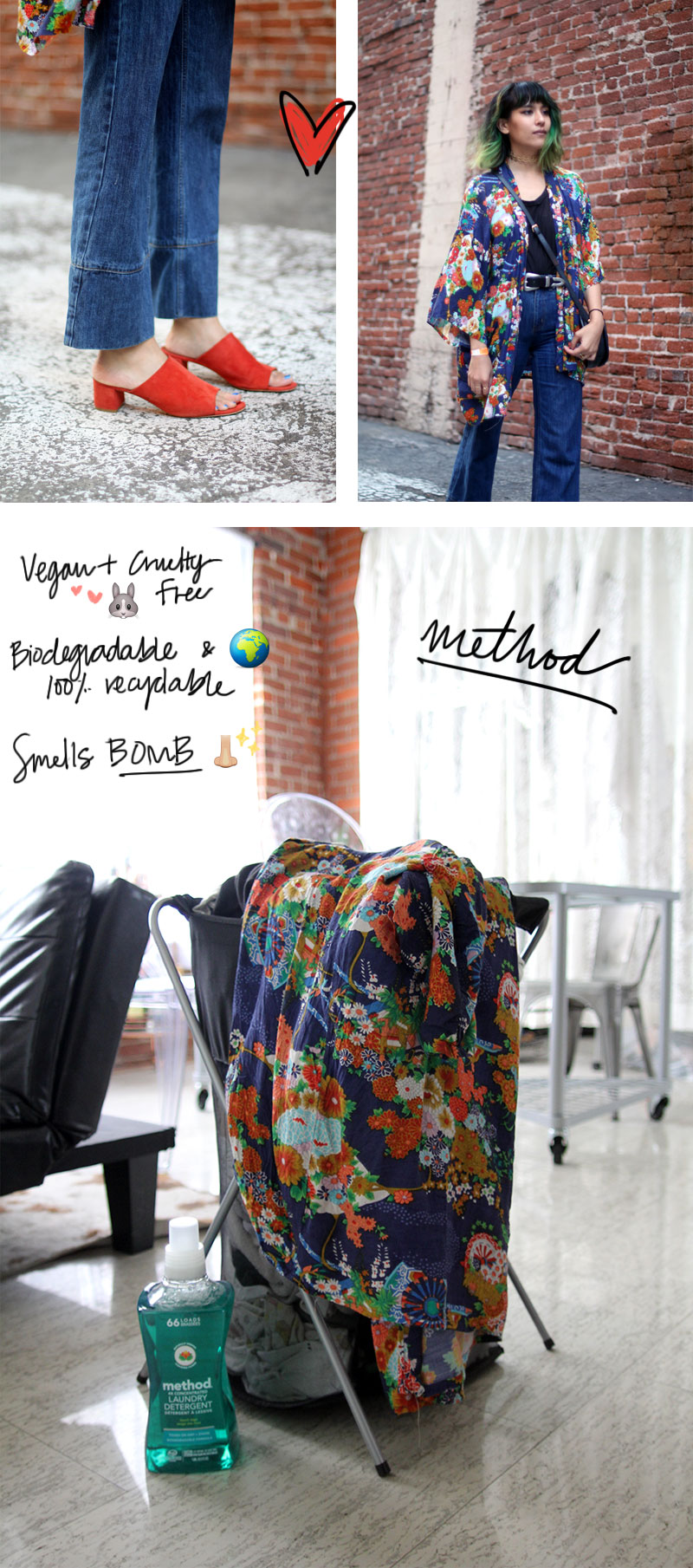 method home cleaning, floral vinage kimono, wood wood denim cropped flared jeans, Mansur Gavriel mules in brick