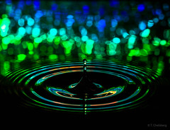 #24 Water Droplet Green and Blue by Attic Light
