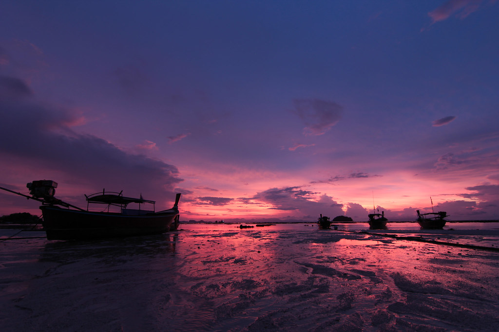 Sunrise with Long Tail Boats at Koh Lipe, Thailand