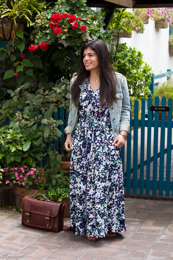 Floral Maxi Dress, Denim Jacket, brown sandals-2.jpg