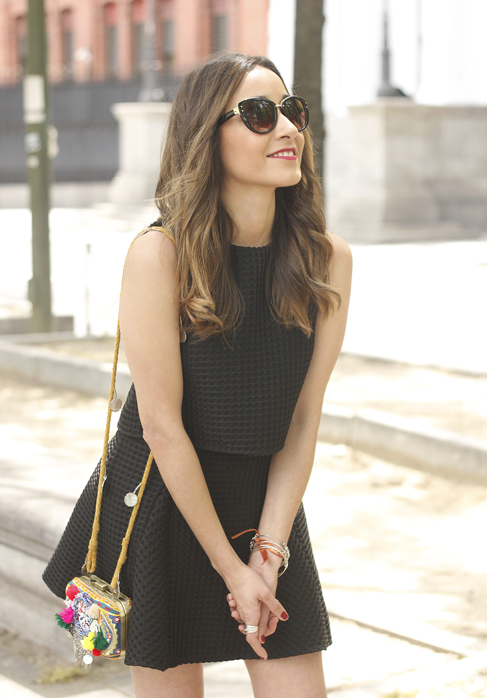 Little black dress maje carolina herrera sandals bag outfit fashion style summer sunnies20