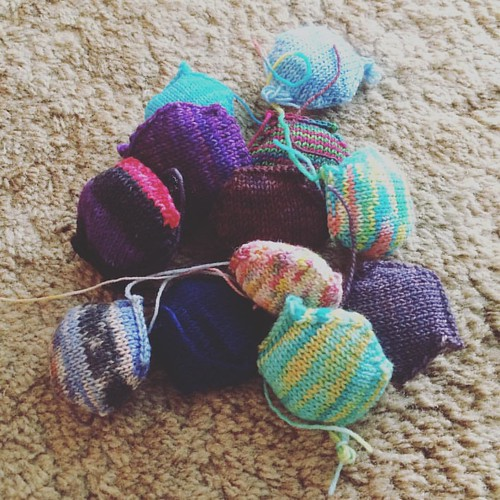 My little pile of squishy #hexipuffs for the week.