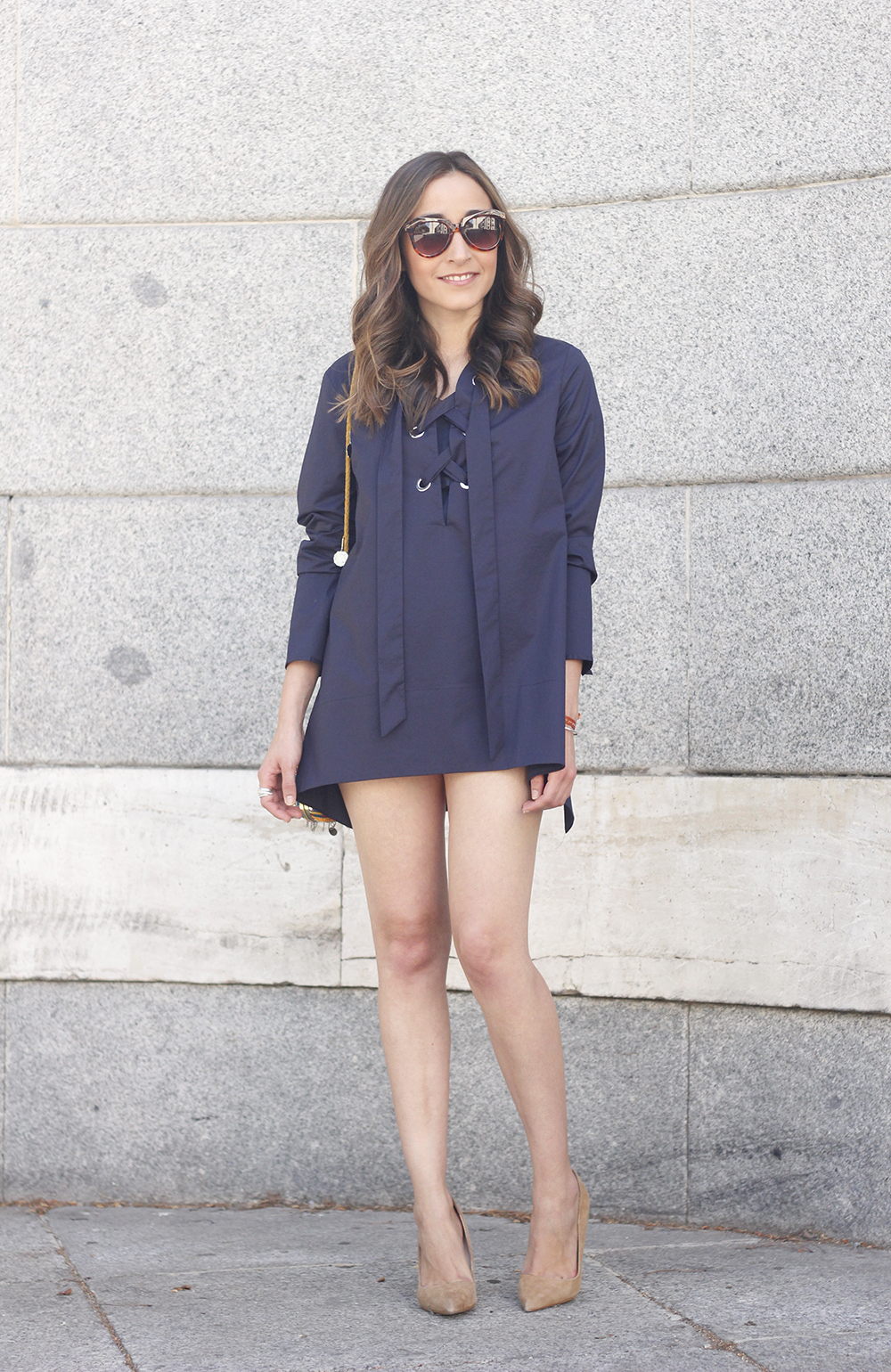 lace up blouse denim shorts nude heels clutch sunnies outfit style fashion02