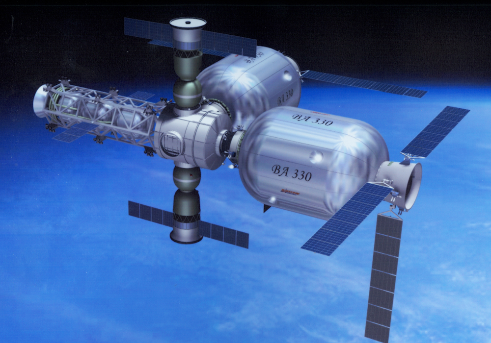 Artist concept of the Bigelow space station.