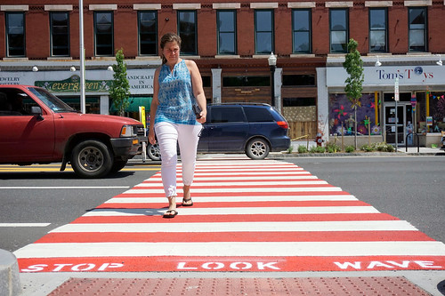 Crosswalk painted red in Great Barrington, Massachusetts