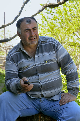 Zaal Akhalkatsi, a local coordinator from the village Dvani, is sending a security report to the text message centre | by UNDP in Europe and Central Asia