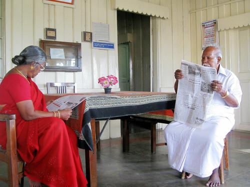 Grandparents on newspaper