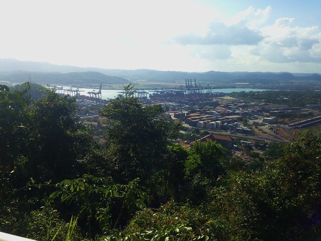 View of Panama Canal from top of Cerro Ancon