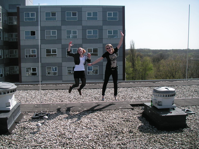 me and charline jumping on the roof