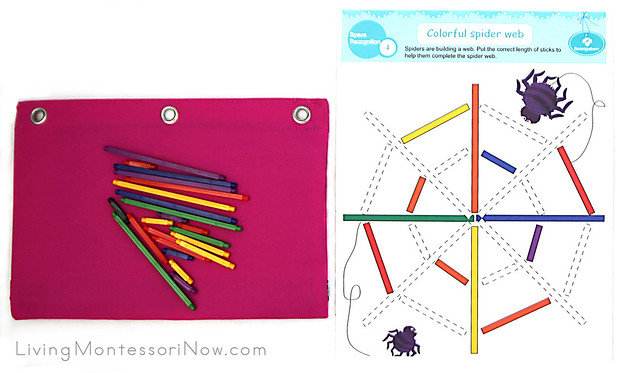 Spielgaben Activity Bag with Sticks and Spider Web Printable