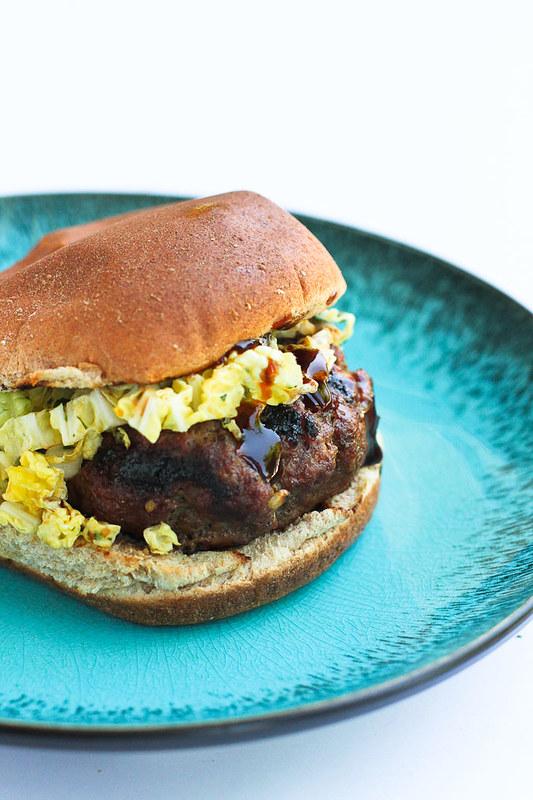 Hoisin Buffalo Burgers with Spicy Slaw