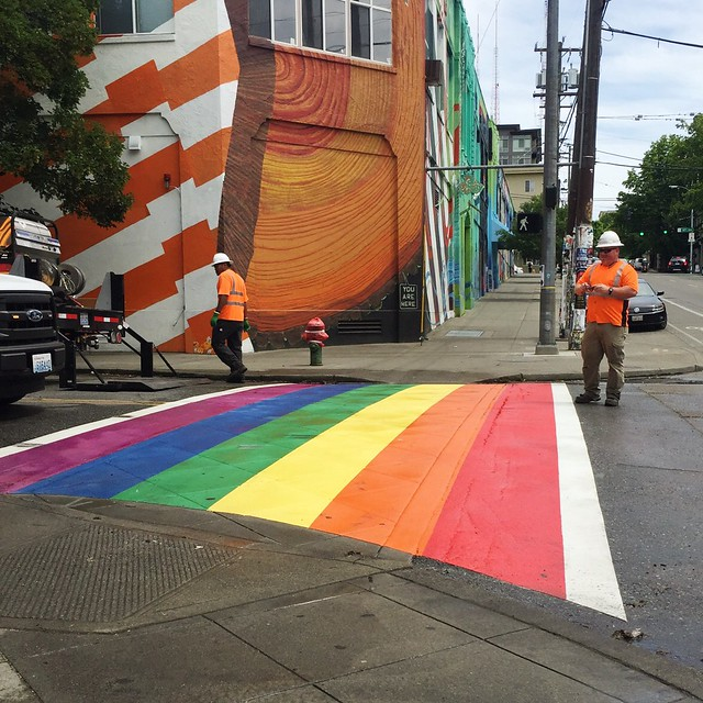 Capitol Hill crosswalk gets a touch-up for Pride